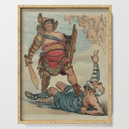 Vintage Illustration of a Gladiator Fight (1898) Serving Tray