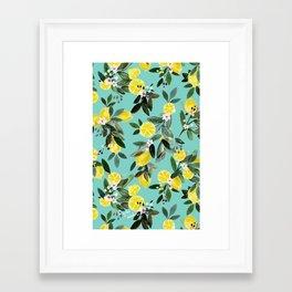 Summer Lemon Floral Framed Art Print