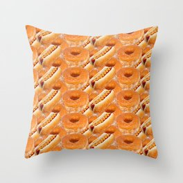 Hot Dogs and Donuts Throw Pillow