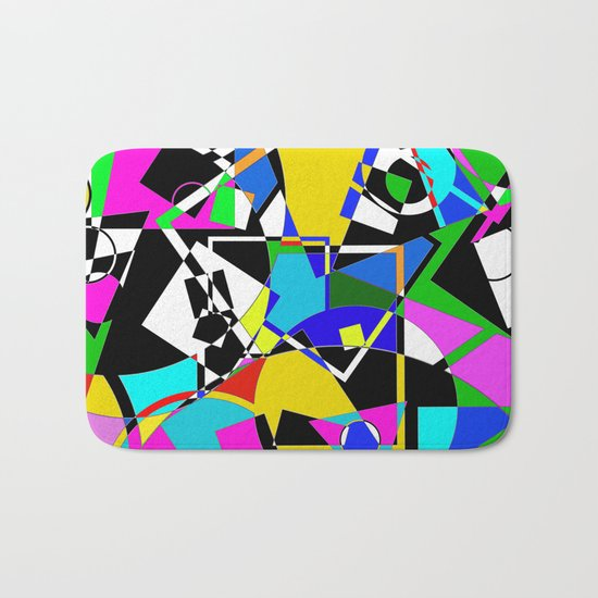 Colour Pieces - Geometric, eclectic, colourful, random pattern of shapes Bath Mat