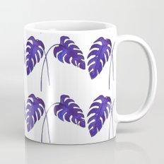 Indigo Monstera Leaf Watercolor - on white Mug