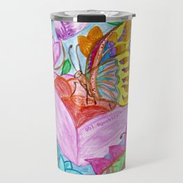 Colourful Butterfly among colourful flowers Travel Mug