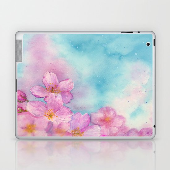 Cherry Blossom in the Blue Sky / Spring / Art Watercolor Painting by Suisai Genki Laptop & iPad Skin