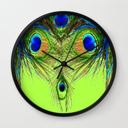 CHARTREUSE BLUE-GREEN PEACOCK FEATHERS ART PATTERNS Wall Clock