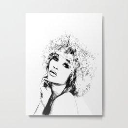 Black Woman Portrait Minimal Drawing Metal Print