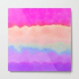 Modern girly pink magenta violet lavender watercolor stripes Metal Print