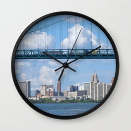 Bridging the Detroit River Wall Clock