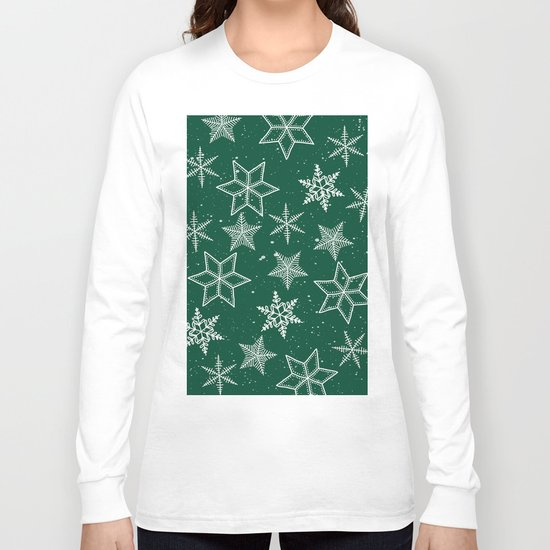 Snowflakes On Green Background Long Sleeve T-shirt