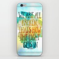 hemingway iPhone & iPod Skins featuring We are All Broken Ernest Hemingway Quote by Ginkelmier
