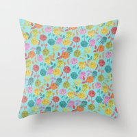 roses Throw Pillows featuring ROSES by Bianca Green