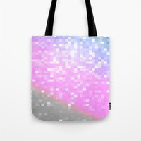 pixel Tote Bags featuring Pink Lavender Gray Pixels by WhimsyRomance&Fun