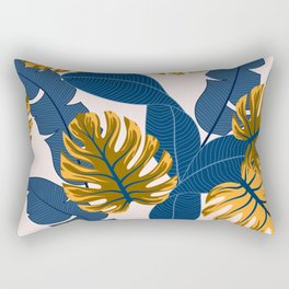 Original seamless tropical pattern with bright plants and leaves on a light background. Seamless exotic pattern with tropical plants. Tropic leaves in bright colors. Hawaiian style. Rectangular Pillow