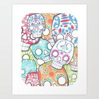 sugar skulls Art Prints featuring skulls sugar by wet yeti