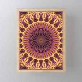 Pretty golden and pink mandala Framed Mini Art Print