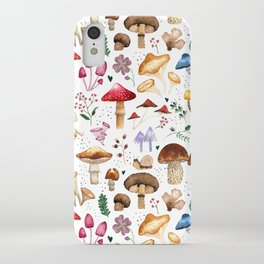 Watercolor forest mushroom illustration and plants iPhone Case