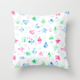 Bright geometric abstract elements seamless pattern on white Throw Pillow