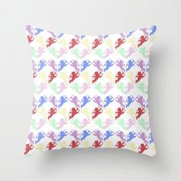 colorful cherubs white Throw Pillow