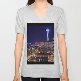 Seattle Night View Unisex V-Neck
