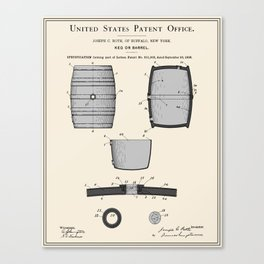 Beer Keg Patent Canvas Print
