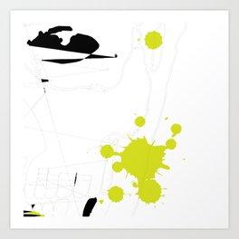 Lime Green Abstract Rick Genest Art Print