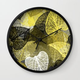 Black & Gold Leaf Abstract Wall Clock