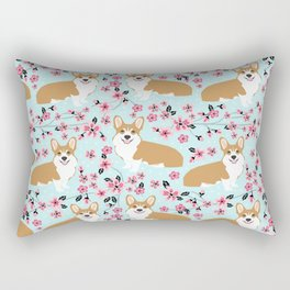 Corgi cherry blossom florals dog must have cute welsh corgis gifts pure breed Rectangular Pillow