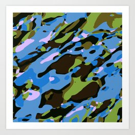 green blue and brown camouflage graffiti painting abstract background Art Print