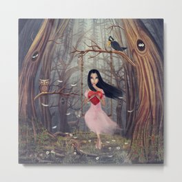 Girl sits on a swing  in a dark  forest Metal Print