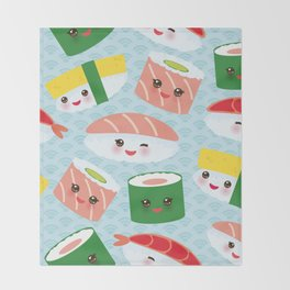 pattern Kawaii funny sushi rolls set with pink cheeks and big eyes, emoji Throw Blanket