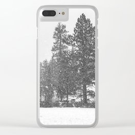 Snow Days // Snowy Tree Black and White Winter Landscape Photography Ski Snowboard Woods Wall Decor Clear iPhone Case