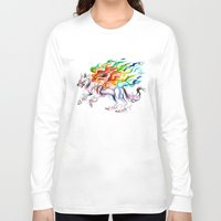 okami Long Sleeve T-shirts featuring Okami Wolf by Katy Lipscomb