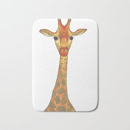 Orange and Gold Illustrated Giraffe Bath Mat