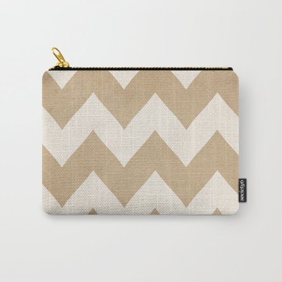 Biscotti & Vanilla - Beige Chevron Carry-All Pouch