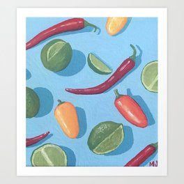 Peppers & Limes Art Print