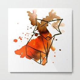 Origami: Fox (brown) Metal Print