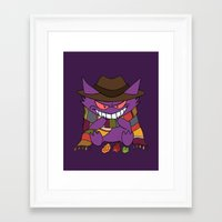 gengar Framed Art Prints featuring Gengar Who? by Cat Vickers-Claesens