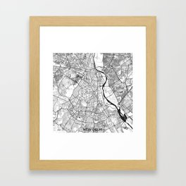 New Delhi Map Gray Framed Art Print