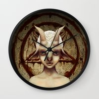 baphomet Wall Clocks featuring PETIT BAPHOMET by ENVYDOLLS