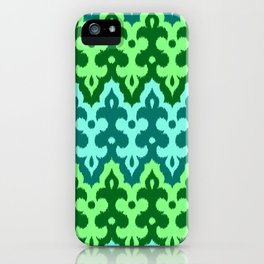 Moroccan Ikat Damask, Turquoise & Jade Green iPhone Case