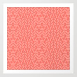 Decorative Leaves in Coral and Pink Art Print
