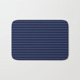 Navy Blue Pinstripe Lines Bath Mat