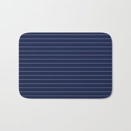 Navy Blue Pinstripes Lines Minimal Bath Mat