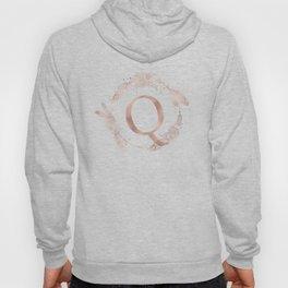 Letter Q Rose Gold Pink Initial Monogram Hoody