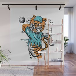 Tiger golfer WITH cap Wall Mural