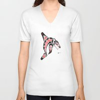killer whale V-neck T-shirts featuring Killer Whale Number 2 by The Marko