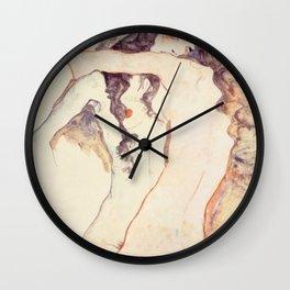 Egon Schiele Two Women Embracing Wall Clock