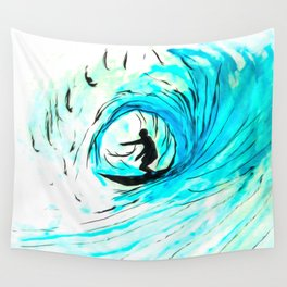 Lone Surfer Tubing the Big Blue Wave Wall Tapestry