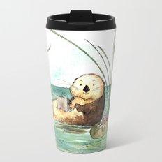 Otter on a Laptop Travel Mug