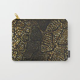 Black Gold Snake Skin Carry-All Pouch