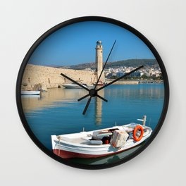 Rethymno lighthouse and boat Wall Clock